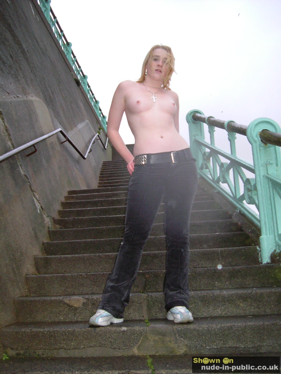 Female exhibitionist flashing in public