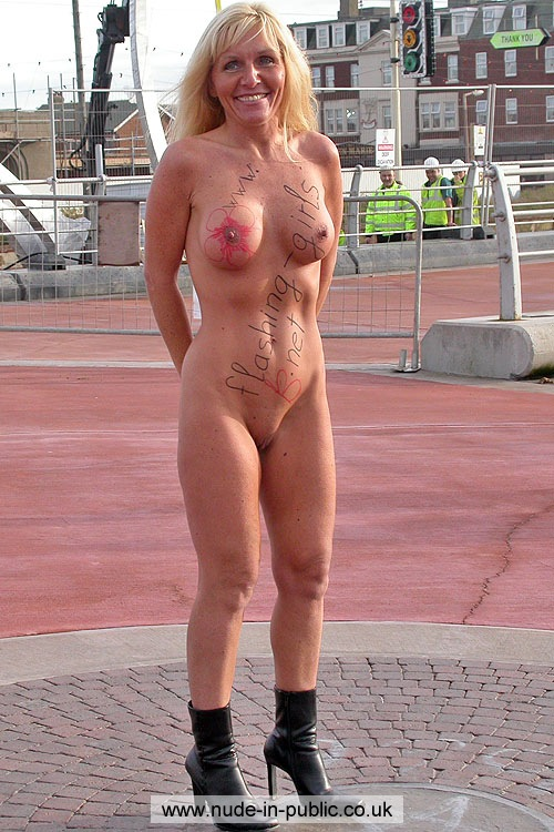 Mature women flashing public